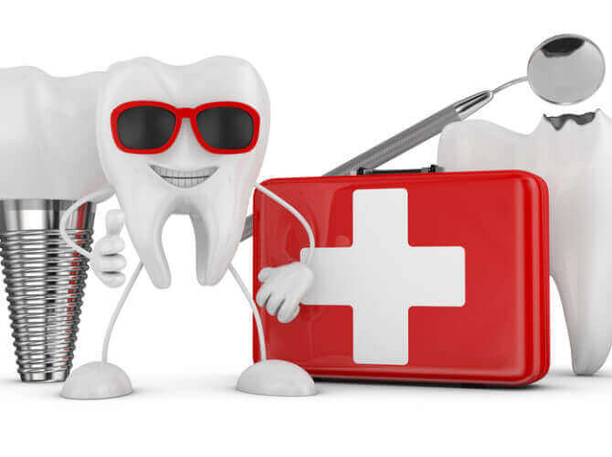 Cheerful tooth with glasses, red suitcase, implant, an aching tooth and medical mirror.